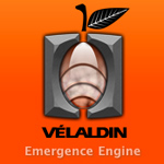 The Velaldin logo on orange background.